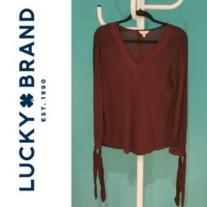 Lucky Brand Maroon Red Long Sleeve Striped Top